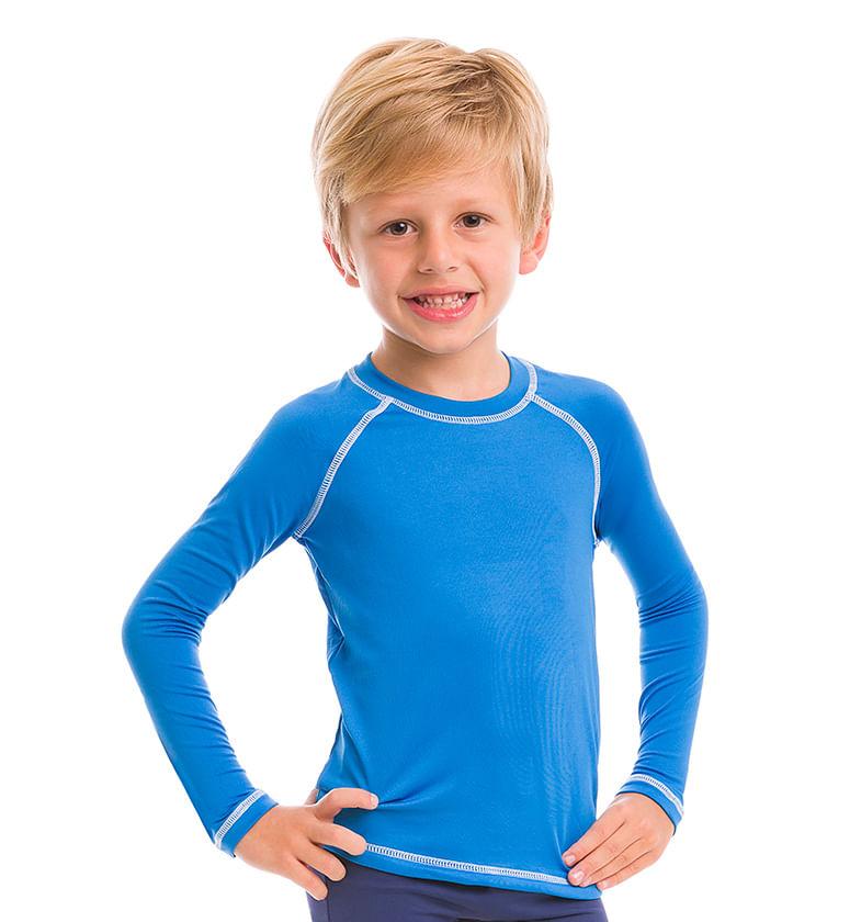 Camiseta com Proteção Solar Colors - Azul Malibu Tam. 6