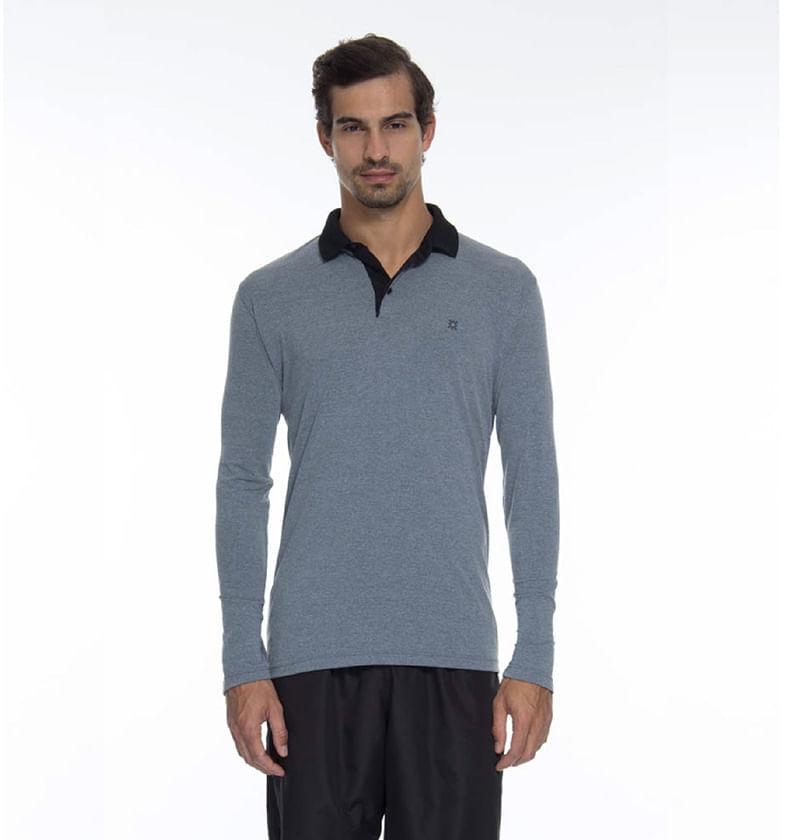 Camiseta Polo Manga Longa - Mescla - uvline 86f31f129446f