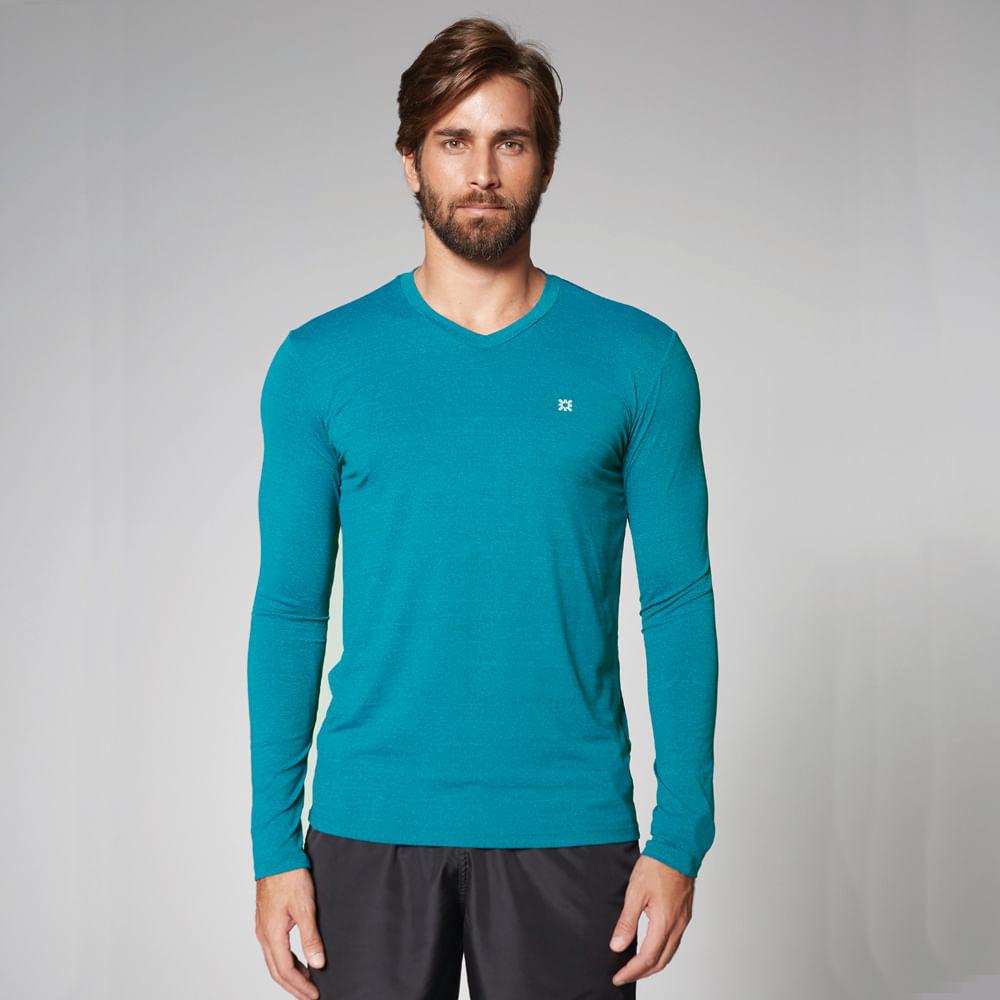 Camiseta com Proteção Solar UV Sport Fit Mescla UV.LINE - Turquesa